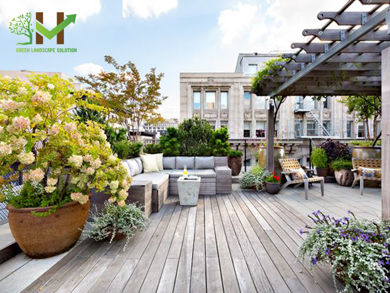 Thiết kế thi công sân vườn trên mái 1